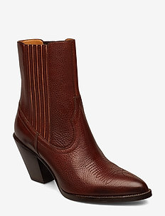 Lowrey Leather Cowboy Boot - ankelboots med klack - dark cognac
