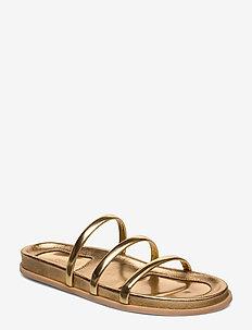 Slide Sandal - flat sandals - gold