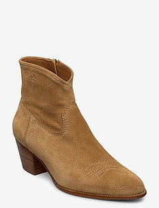 Lucille Leather Boot - heeled ankle boots - caramel