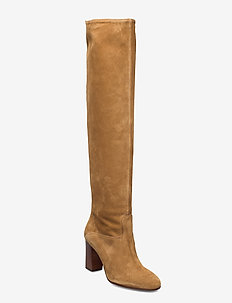 Brie Suede Boot - long boots - tan