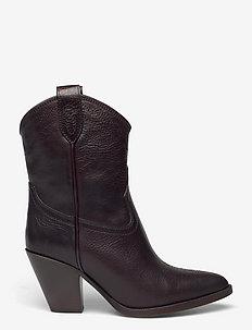 Leather Western Ankle Boot - ankelstøvler med hæl - chocolate