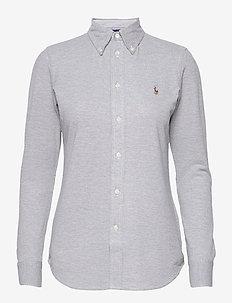 Knit Cotton Oxford Shirt - langärmlige hemden - boulder grey heat