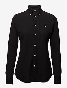 Knit Cotton Oxford Shirt - overhemden met lange mouwen - polo black