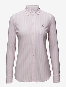 Striped Knit Oxford Shirt - långärmade skjortor - carmel pink/white