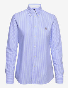 Striped Knit Oxford Shirt - long-sleeved shirts - harbor island blue