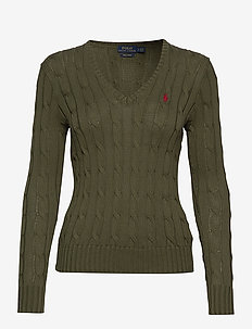 Cable-Knit V-Neck Sweater - DEFENDER GREEN