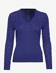 Cable-Knit V-Neck Sweater - FALL ROYAL
