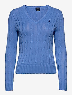 Cable-Knit V-Neck Sweater - jumpers - harbor island blu