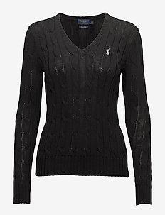 Cable-Knit V-Neck Sweater - trøjer - polo black/white