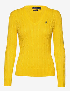 Cable-Knit V-Neck Sweater - TRAINER YELLOW
