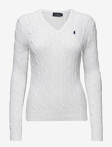 Cotton V-Neck Cable Sweater - WHITE