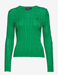 Cable-Knit Crewneck Sweater - STEM GREEN