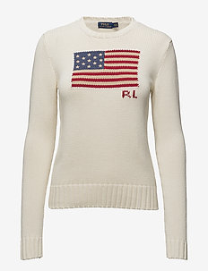Flag Cotton Crewneck Sweater - tröjor - cream multi