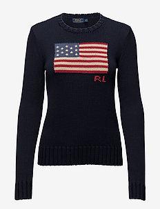 Flag Cotton Crewneck Sweater - neulepuserot - hunter navy mul
