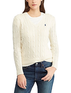 Cable-Knit V-Neck Sweater - gensere - cream