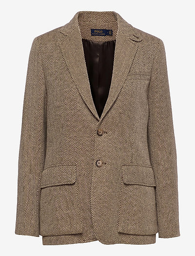 Herringbone Silk-Blend Blazer - casual blazere - brown/tan herring