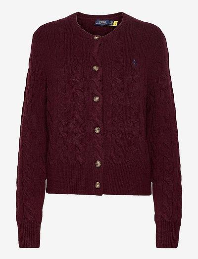 Buttoned Wool-Blend Cardigan - cardigans - aged wine melange
