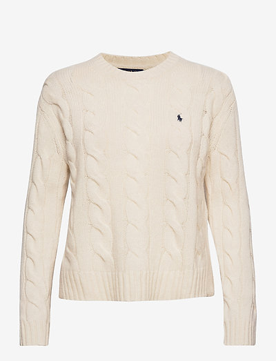 Cable-Knit Crewneck Sweater - trøjer - cream