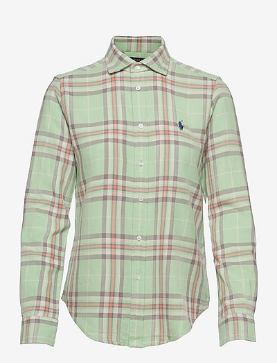 Classic Fit Plaid Cotton Shirt - langærmede skjorter - 4686 green multi