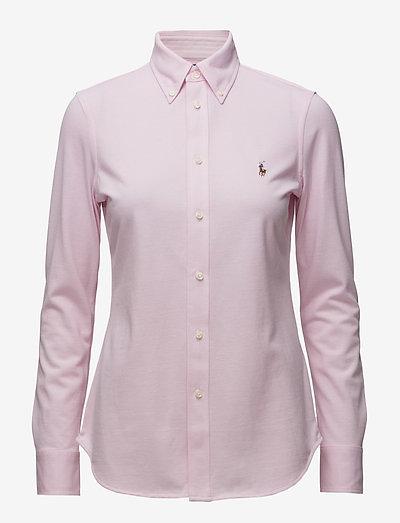 Knit Cotton Oxford Shirt - langærmede skjorter - carmel pink