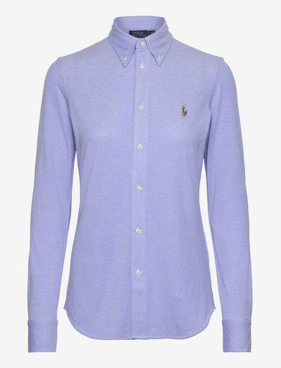 Knit Cotton Oxford Shirt - langærmede skjorter - harbor island blue