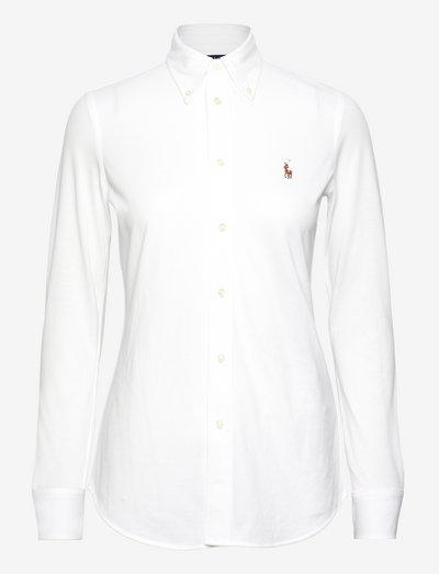 Knit Cotton Oxford Shirt - langærmede skjorter - white