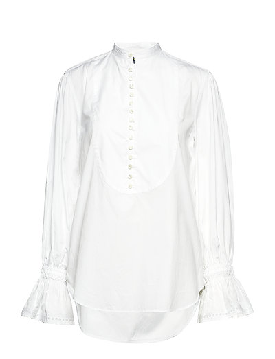 Cotton Broadcloth Top - WHITE