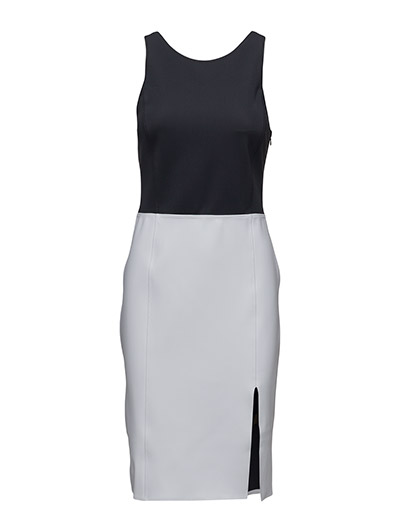 Two-Tone Knit Swimsuit Dress - POLO BLACK/WHIT