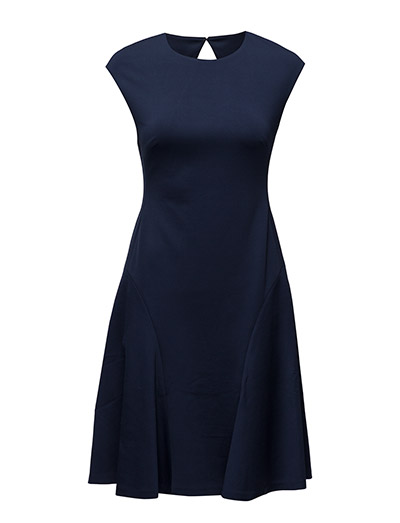 Ponte Fit-and-Flare Dress - CRUISE NAVY