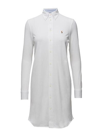 Knit Cotton Oxford Shirtdress - WHITE