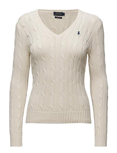 Cotton V-Neck Cable Sweater - CREAM