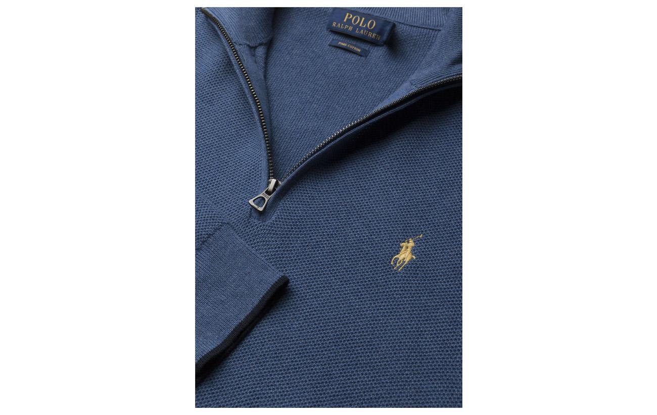 Heather Lauren Sweater Polo Grey Ralph Cotton Fawn Half zip ZSwxxqTvH8