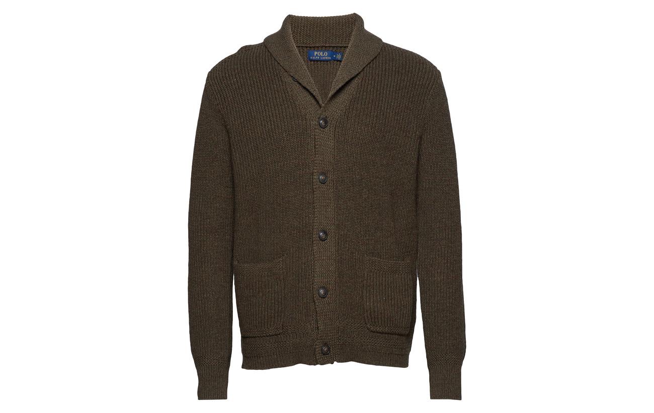 Olive Heather Cardigan Shawl Ralph Lauren Cotton collar Polo xO1PZqw7
