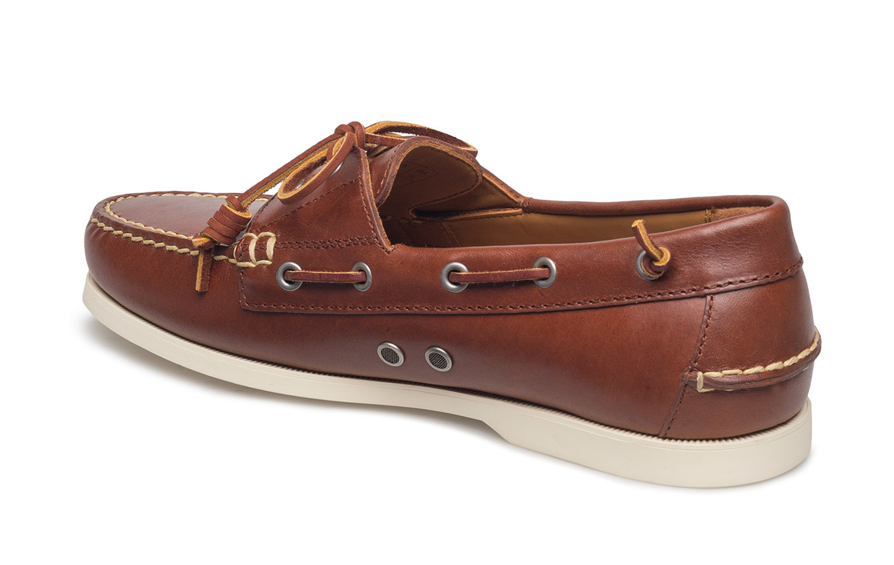 Merton Lauren Cowleather Tan 100 Leather Caoutchouc Supérieure Deep Saddle Polo Boat Shoe Ralph Outsole Partie 5EqwF7TxF