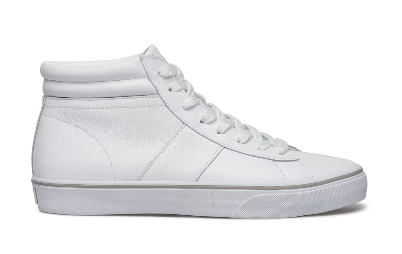 High Supérieure Lauren Outsole White Sneaker Ralph Rl Partie Caoutchouc Calfskin Shaw top Polo Cuir vIx65qwx