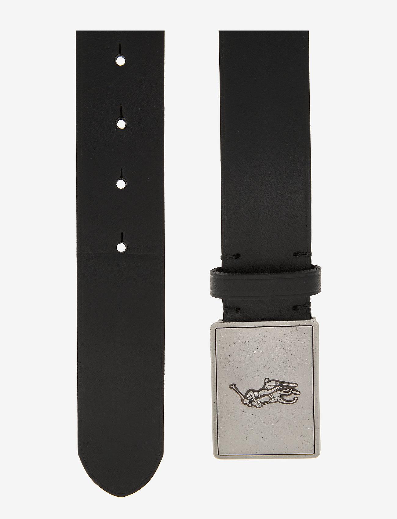 Polo Ralph Lauren - Pony Plaque Leather Belt - belts - black - 1