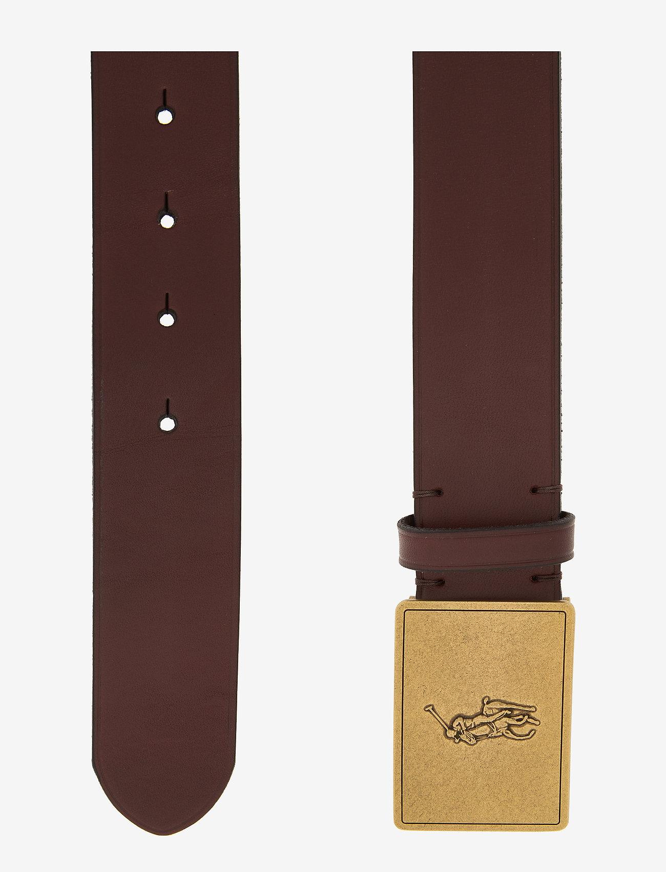 Polo Ralph Lauren - Pony Plaque Leather Belt - belts - brown - 1