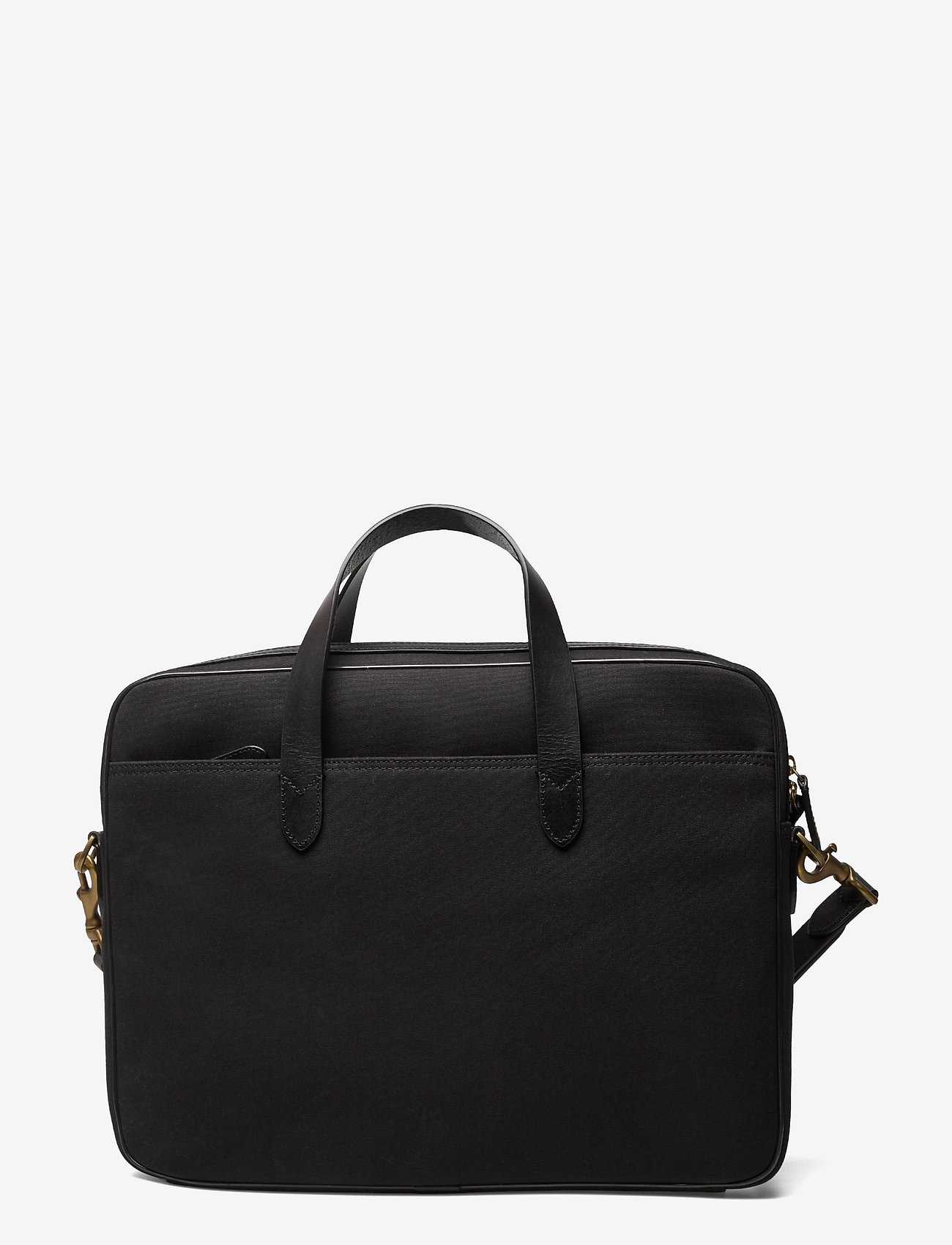 Polo Ralph Lauren - Leather-Trim Canvas Briefcase - briefcases - black/black - 1