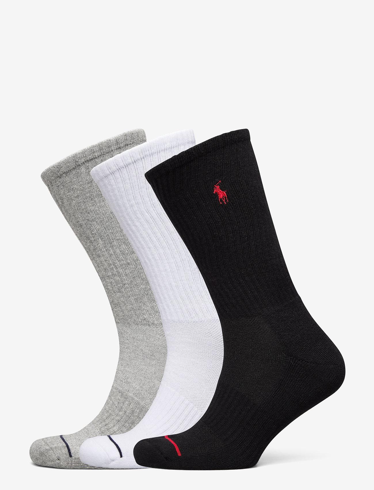 Polo Ralph Lauren - Athletic Crew Sock 3-Pack - regular socks - black / white / g - 0