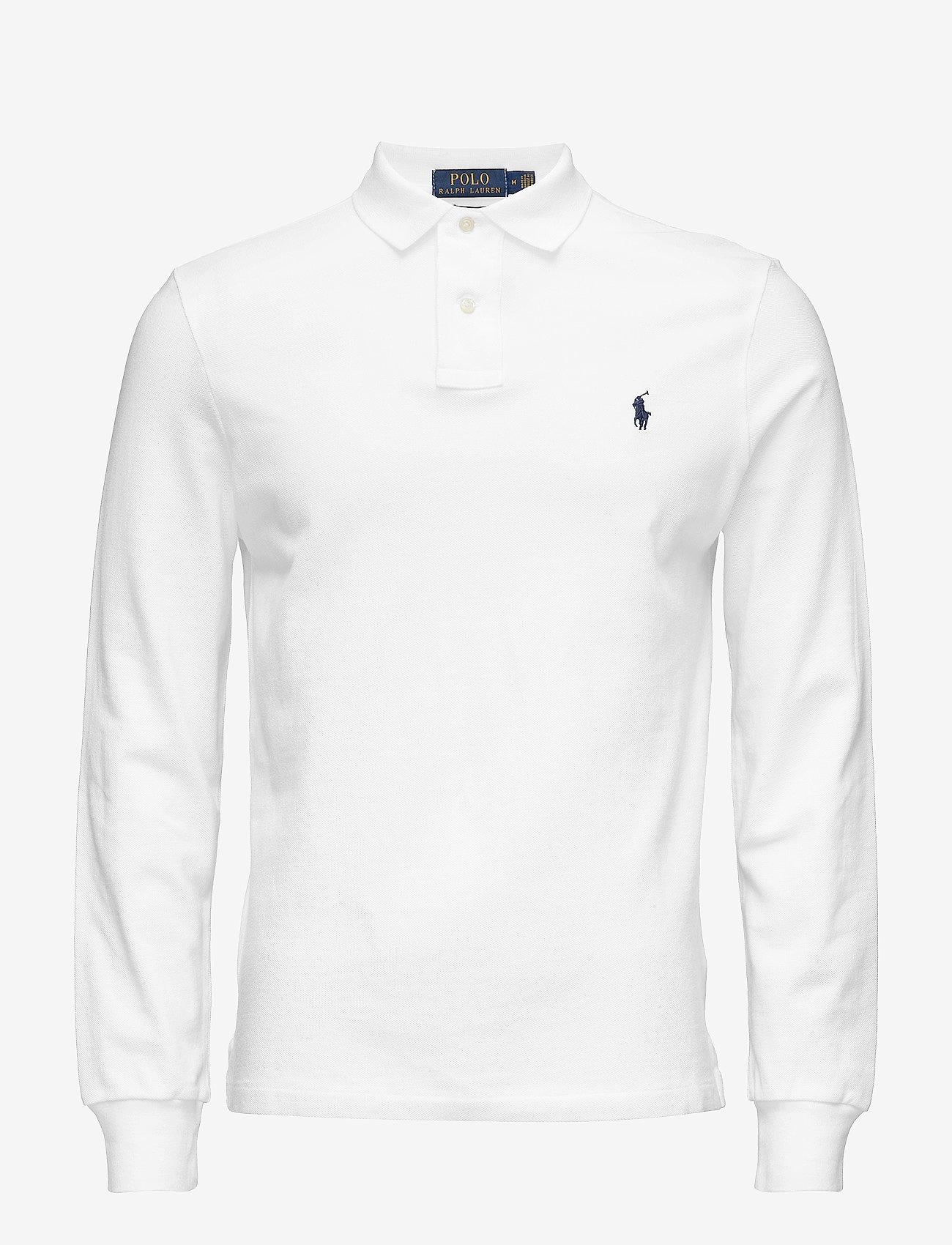 Polo Ralph Lauren - Custom Slim Fit Mesh Polo - lange mouwen - white - 0