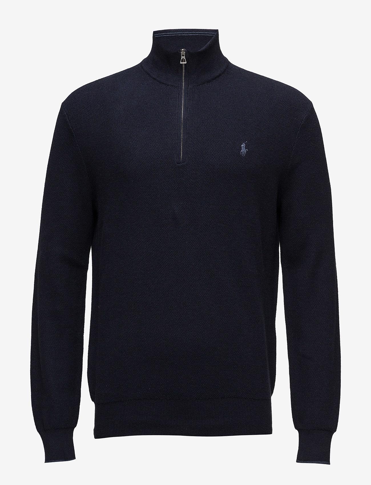 Polo Ralph Lauren - Cotton Quarter-Zip Sweater - half zip - navy heather - 1