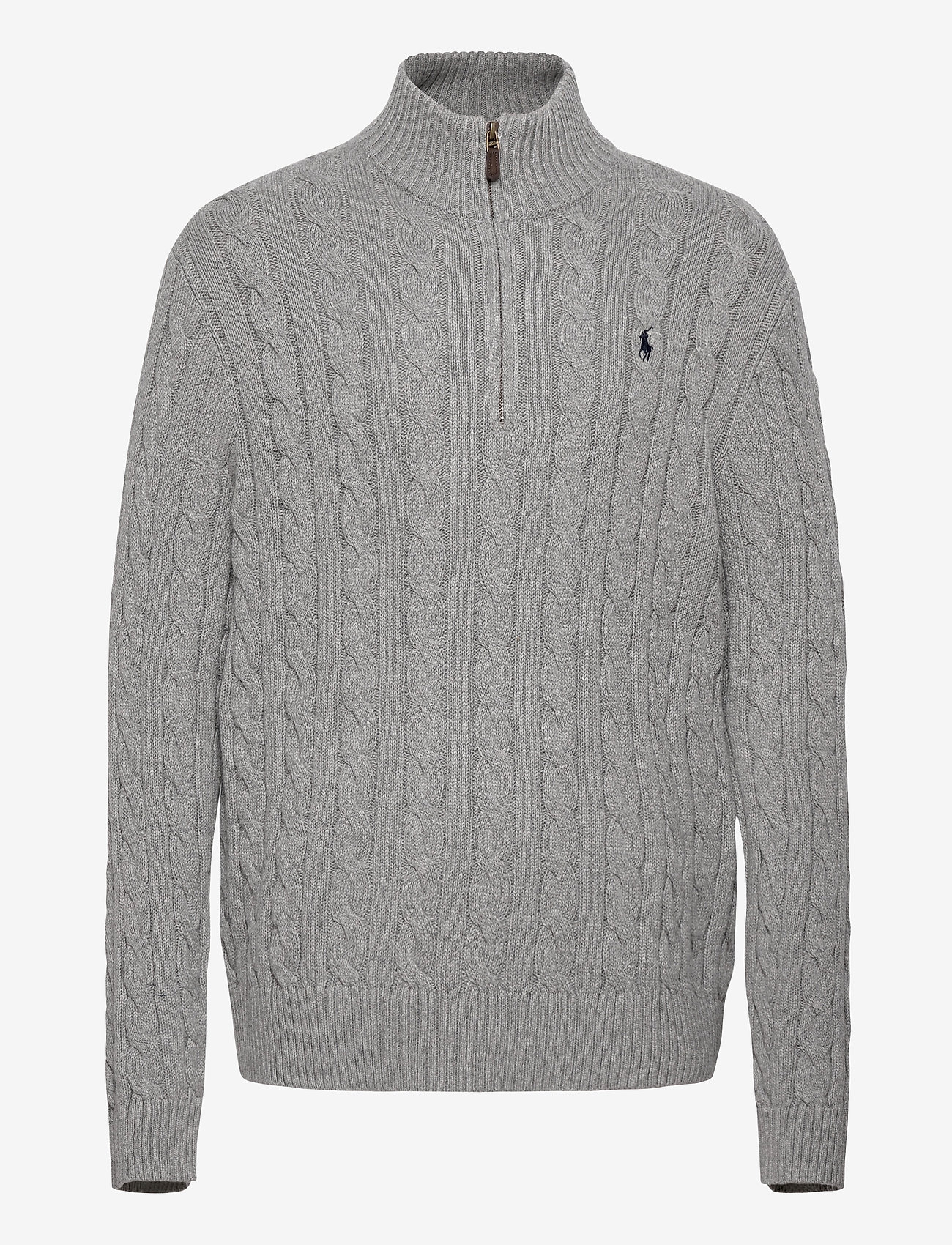 Polo Ralph Lauren - Cable-Knit Cotton Sweater - half zip - fawn grey heather - 1