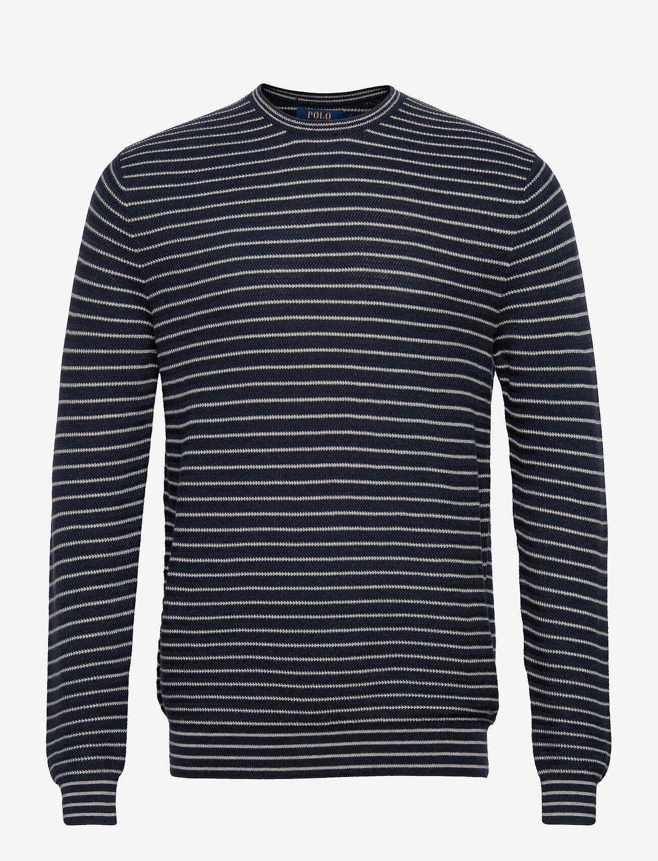Polo Ralph Lauren - Striped Cotton Crewneck Sweater - knitted round necks - navy stripe - 0