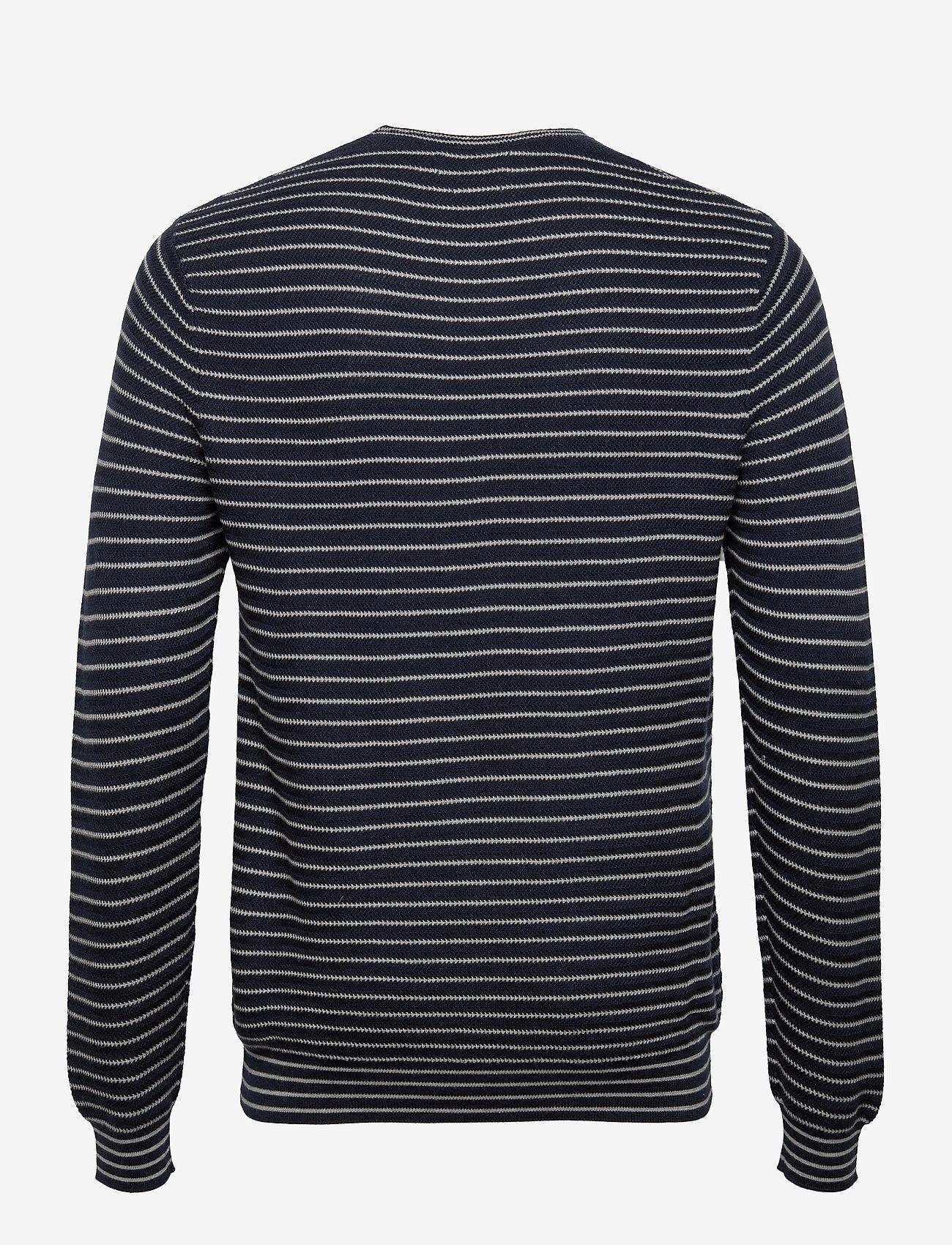 Polo Ralph Lauren - Striped Cotton Crewneck Sweater - knitted round necks - navy stripe - 1