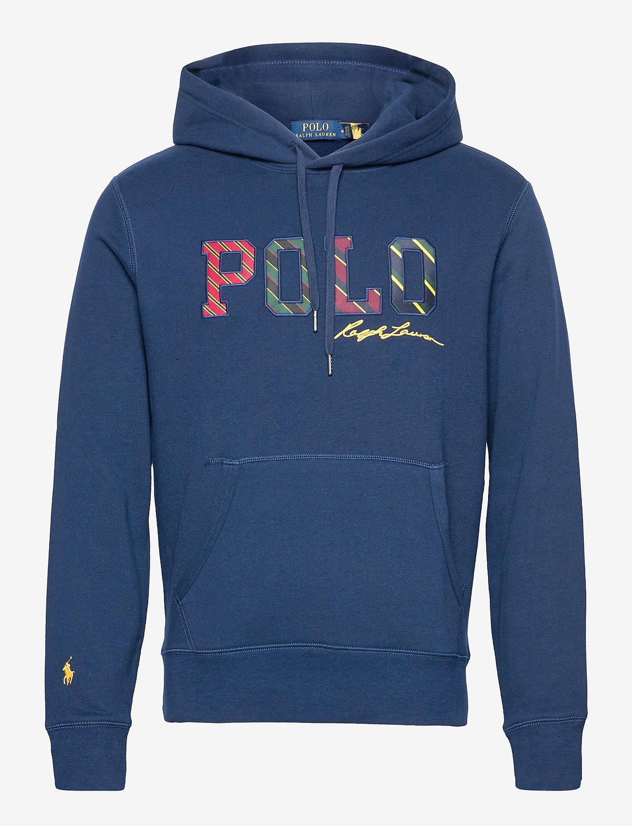 Polo Ralph Lauren - Striped-Logo Fleece Hoodie - hoodies - french navy - 0