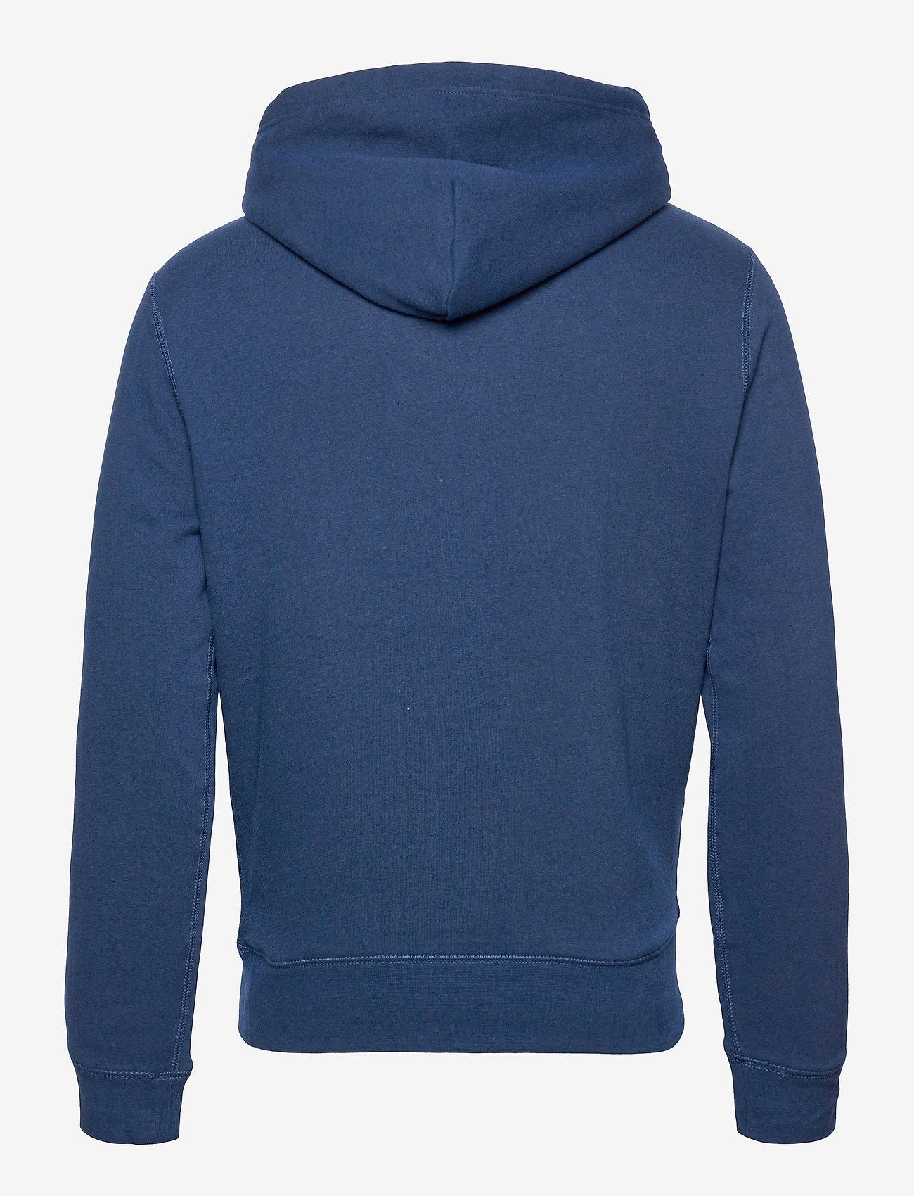 Polo Ralph Lauren - Striped-Logo Fleece Hoodie - hoodies - french navy - 1