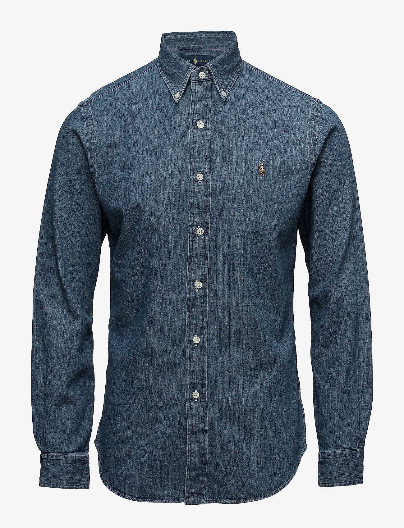 Polo Ralph Lauren - Slim Fit Chambray Shirt - farkkupaidat - dark wash - 1