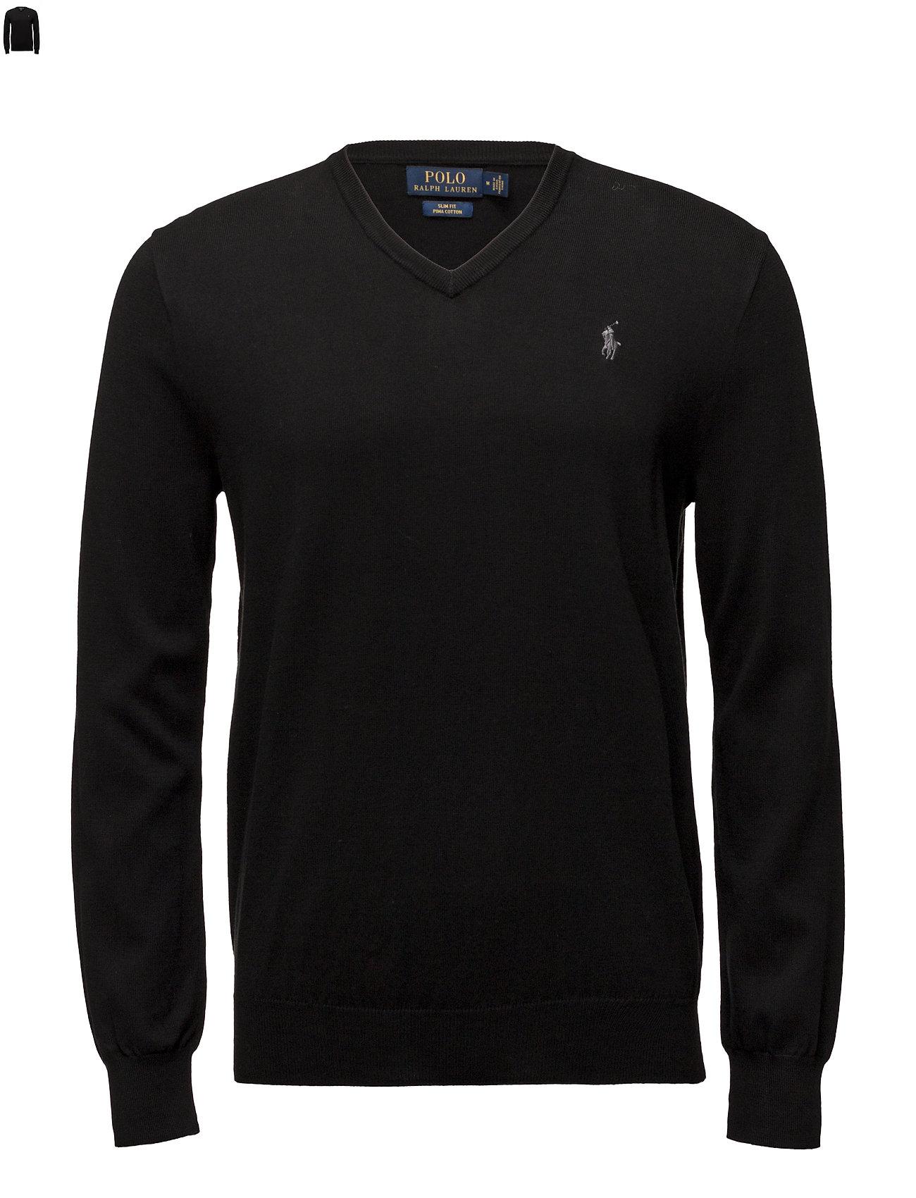 Polo Ralph Lauren Slim Fit Cotton V-Neck Sweater - POLO BLACK