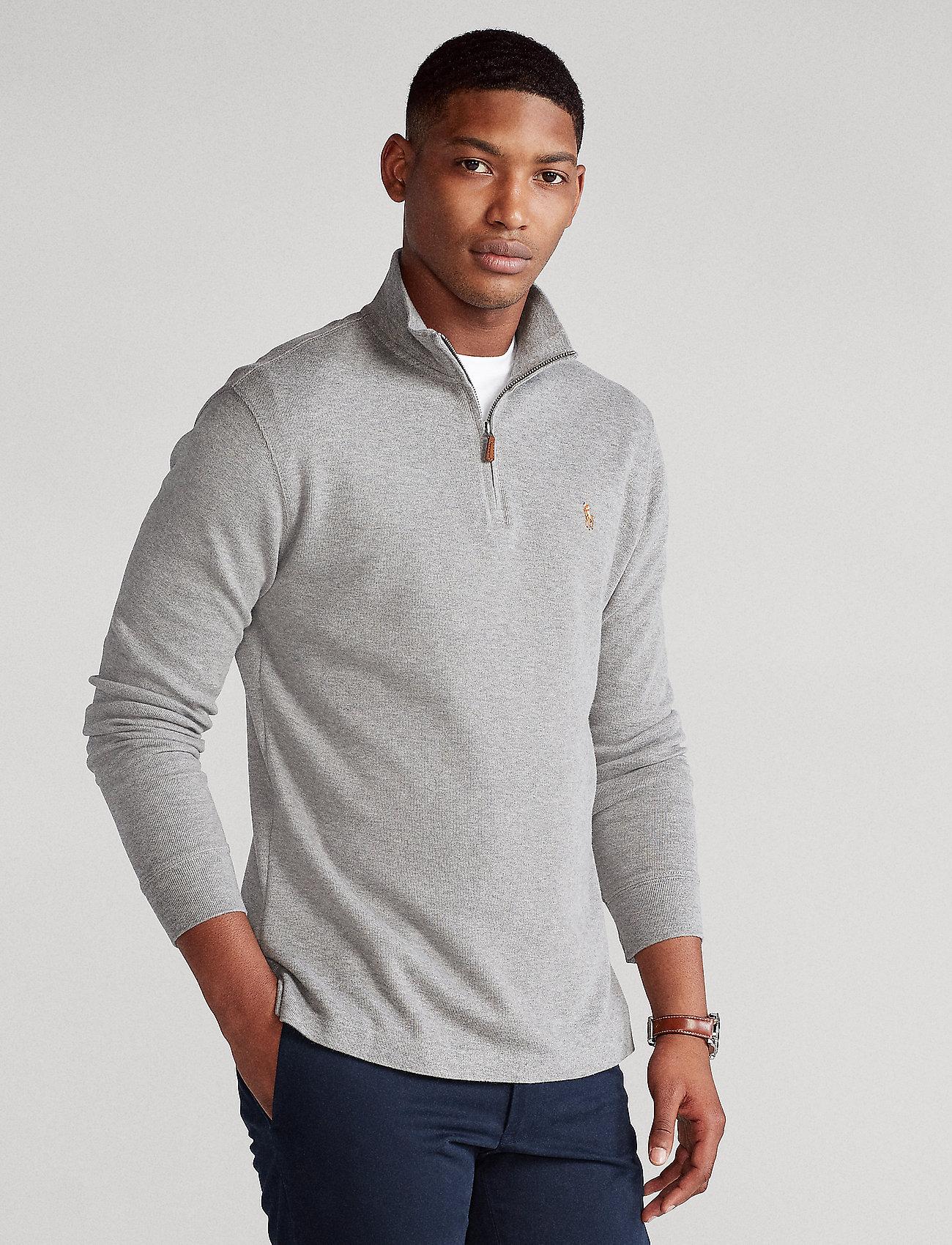 Polo Ralph Lauren - Estate-Rib Cotton Pullover - half zip jumpers - metallic grey hea - 0
