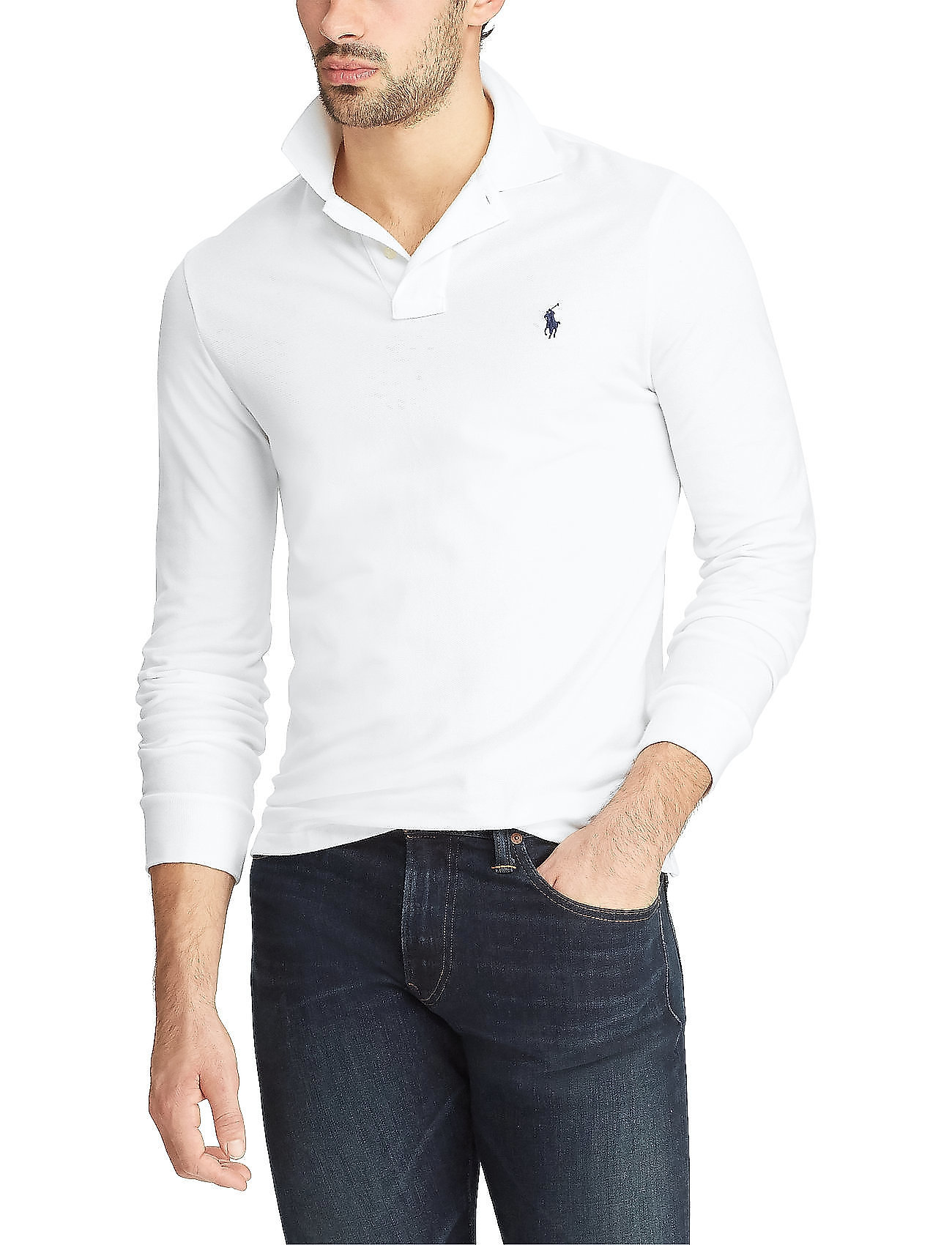 Polo Ralph Lauren - Slim Fit Mesh Long-Sleeve Polo - lange mouwen - white - 0